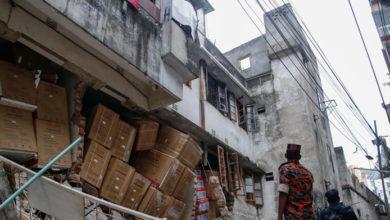 Photo of মগবাজার বিস্ফোরণে হেলে পড়েছে পাশের ভবন